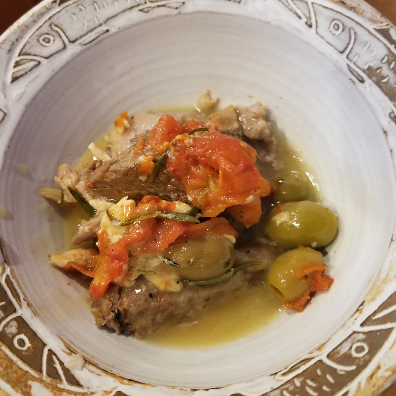 Tapas: Lamb with Tomatoes, Olives, and Garlic